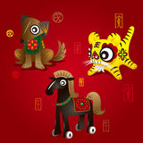 Chinese Zodiac Mascots: Dog, Tiger & Horse Royalty Free Stock Photos