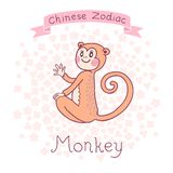 Chinese Zodiac - Monkey. Vector illustration. In my portfolio there are other animals of the Chinese Zodiac series Royalty Free Stock Photos