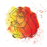 Chinese zodiac monkey.Watercolor splash. Chinese zodiac.Monkey on watercolor splash texture background.Fire yellow,red colors.Translation symbol of 2016 year Stock Images