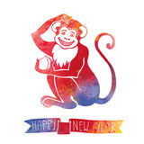 Chinese zodiac monkey.Watercolor Stock Photography