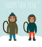 Chinese Zodiac - Monkeys. 2016 New Year Symbol. Monkey Boy and Girl in Fashion Clothes. Stock Photography