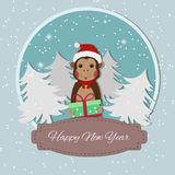 Chinese Zodiac - Monkeys. 2016 New Year Symbol. Monkey in Santa Hat. Royalty Free Stock Photography