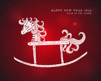 Chinese Zodiac New Year of the Horse. 2014 Chinese New Year of the Horse cute toy red background illustration. EPS10 vector file with transparency layers Royalty Free Stock Photo