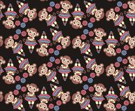 Chinese zodiac. New year monkey 2016. Seamless pattern, fabric. Winter Christmas design. Royalty Free Stock Photos