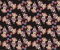 Chinese zodiac. New year monkey 2016. Seamless pattern, fabric. Winter Christmas design. Royalty Free Stock Photos