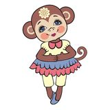 Chinese zodiac. New year monkey 2016. Winter Christmas design. Can be used for postcards, books, wallpaper, gift, t-shirt, bag, postcard, coloring book a stock illustration