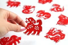 Chinese zodiac papercutting, Year of dog. Chinese Paper Cuts have been a traditional form of decoration in China at Chinese New Year and all year round for Stock Image