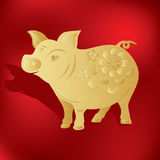 Chinese zodiac PIG. Chinese astrology year of pig. gold paper cut Stock Photography