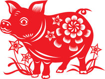 Chinese zodiac : pig. Chinese zodiac paper cutting style : pig Stock Images