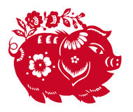 Chinese Zodiac of pig year royalty free illustration
