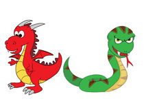 Chinese Zodiac Set 3 : Dragon And Snake. Cute Illustration of fifth and sixth animals in the Chinese Zodiac:  Dragon And Snake Stock Photos