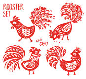 Chinese Zodiac set of 2017 - Red Rooster New Year. Oriental Happy Chinese New Year 2017. Year of Red Rooster. Vector design in red color Royalty Free Illustration