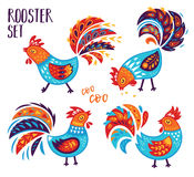 Chinese Zodiac set of 2017 - Rooster New Year. Oriental Happy Chinese New Year 2017. Year of Rooster. Vector illustration for holiday design. 2017 New year Stock Photos