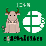 Chinese zodiac sign cow with Chinese character `cow`. Stock Photo