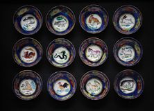Chinese zodiac sign cup dark background. Studio stock photos