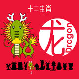 Chinese zodiac sign dragon with Chinese character `dragon` Royalty Free Stock Image