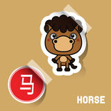 Chinese Zodiac Sign horse sticker Stock Images
