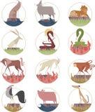 Chinese zodiac sign icon symbols Royalty Free Stock Image