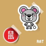 Chinese Zodiac Sign mouse sticker. Vector illustration Royalty Free Stock Images