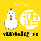 Chinese zodiac sign rooster with Chinese character `rooster` Royalty Free Stock Photography