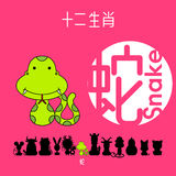 Chinese zodiac sign snake with Chinese character `snake` Stock Image