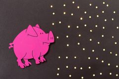 Chinese Zodiac Sign Year of Pig, Pink paper cut pig,Happy New Year 2019 year. Black background vector illustration