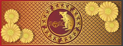 Chinese Zodiac Sign Year of Rat,Red Paper cut rat,Happy Chinese New Year 2020 year of the rat Translation : Happy Chinese new yea