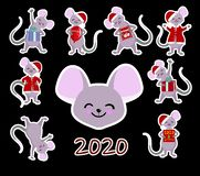 Chinese zodiac sign Year of the Rat, Stickers for children Happy Chinese New Year 2020 rat stock photography