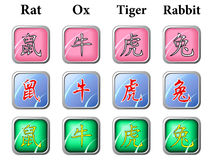Chinese zodiac signs. Pack 1 Royalty Free Stock Photo