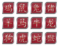 Chinese zodiac signs. Collection of chinese zodiac symbols Royalty Free Stock Image