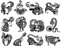 Chinese zodiac signs design set. 12 Chinese zodiac signs with decorative elements royalty free illustration