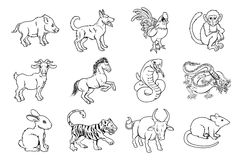 Chinese Zodiac Signs Stock Photography