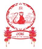 Chinese zodiac signs: monkey. Vector illustration Stock Photo