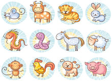 Chinese zodiac signs. No gradients Royalty Free Stock Images
