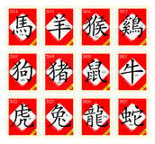 12 Chinese zodiac signs with postage stamp Royalty Free Stock Images