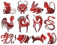 12 Chinese zodiac signs. In red Stock Illustration