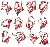 Chinese zodiac signs. Red chinese zodiac signs in tattoo style Royalty Free Stock Photo