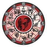 12 Chinese zodiac signs. Chinese zodiac wheel with signs stock illustration