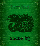 Vector Chinese Zodiac - snake. Chinese Zodiac paper-cut about snake Calligraphy on green Textured Parchment.Increased by Adobe Illustrator EPS Vector Format Royalty Free Stock Image