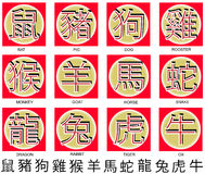 Chinese zodiac symbols. In Chinese calligraphy Royalty Free Stock Image
