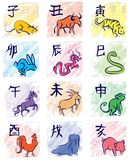 Chinese zodiac symbols. 12 eastern calendar signs, icons Stock Photography