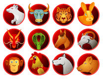 Chinese zodiac symbols Royalty Free Stock Images