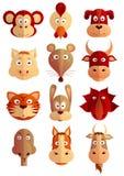 Chinese zodiac symbols as cartoon animals Royalty Free Stock Photography