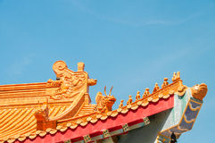 Chinese Zodiac on temple roof. With blue sky background stock photography