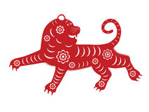 Chinese zodiac tiger. Isolated red paper-cut tiger for Chinese New Year 2010 stock illustration