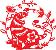 Chinese zodiac : tiger. Chinese zodiac paper cutting style : tiger Royalty Free Stock Photo