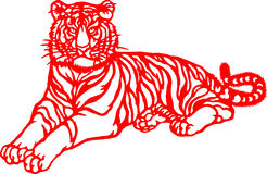 Chinese Zodiac of tiger year. Chinese traditional tiger paper cut, for chinese new year vector illustration