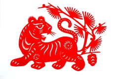 Chinese zodiac of tiger year 2010. Traditional Chinese culture, paper-cut art, Tiger year royalty free illustration