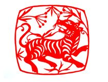 Chinese zodiac of tiger year 2010. Traditional Chinese culture, paper-cut art, Tiger year vector illustration