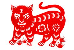 Chinese zodiac of tiger year 2010. Traditional Chinese culture, paper-cut art, Tiger year stock illustration